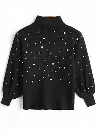 black sweater with white collar faux pearl high collar puff sleeve sweater black sweaters one
