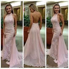 light pink halter dress light pink halter prom dresses 2017 new backless mermaid lace