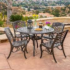 Aluminum Cast Patio Dining Sets Covington Antique Bronze Outdoor Patio Furniture 5pcs