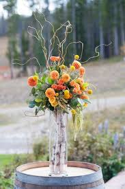 Flower Arrangements For Tall Vases Picture Of A Tall Vase With Birch Branches And A Bold Fall