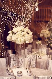 branch table centerpieces cool white winter wedding centerpieces