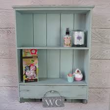 shabby chic vintage blue wooden kitchen bathroom wall shelves