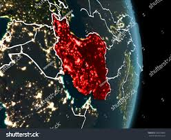 World At Night Map Map Iran Red Seen Space On Stock Illustration 769279606 Shutterstock