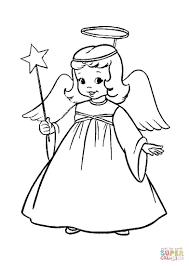 dibujo de ángel en una representación de navidad para colorear