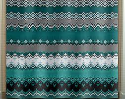 Green Bathroom Window Curtains Art Shower Curtain Etsy