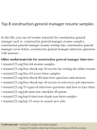 construction foreman resume examples sample construction resume sample resume and free resume templates sample construction resume sample construction superintendent resume resume cv cover letter top8constructiongeneralmanagerresumesamples 150723071758 lva1