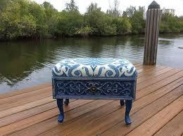 Upcycle Ottoman Repurposed Drawer To Vintage Blue Ottoman Hometalk