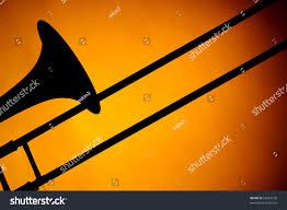 halloween background for slides trombone silhouette bell slide isolated against stock photo
