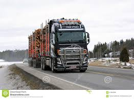 volvo truck group volvo fh16 logging truck hauls pulp wood editorial stock photo