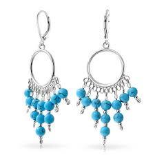 turquoise beaded chandelier sterling silver blue beaded chandelier dangle leverback earrings