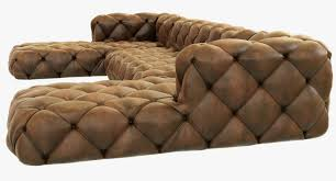 Tufting Sofa by Restoration Hardware Soho Tufted Leather U Chaise Sectional 3d