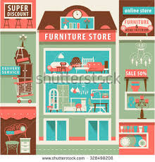 home interior store winter shopping center decorations cheerful stock vector