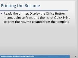 Printer Resume Creating A Cover Letter And A Resume Ppt Download