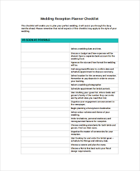 wedding reception planner sle wedding planner checklist 8 exles in pdf word