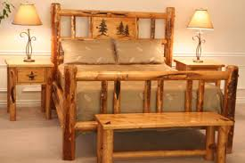 Pine Bed Set Rocky Mountain Pine Log Bed W Carvings Colorado Pine Log
