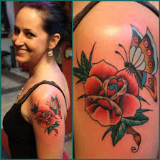 rose and butterfly tattoo hubby u0027s artwork ironclad tattoo