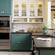 Farmhouse Kitchen Cabinet Comely Blue Color Wooden Kitchen Cabinets Featuring Black Color