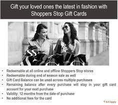 shoppers stop gift card 10 shoppers stop gift card rs 1000 in gift cards