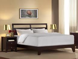 Walnut Bedroom Furniture Bed Frame Low Profile Walnut Wood Platform Bed With Headboard