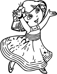 dora crystal empire dress coloring page wecoloringpage