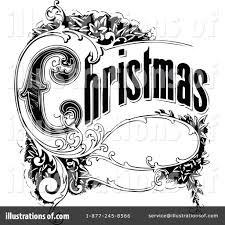 black and white vintage christmas clipart collection