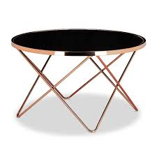 table de canapé relaxdays table basse ronde copper en cuivre et verre noir table