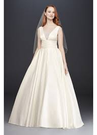 satin wedding dresses cummerbund satin gown wedding dress david s bridal