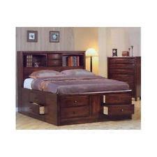 Bed Bookcase Headboard Coaster 200609q Hillary Queen Size Storage Bed In Walnut Finish Ebay