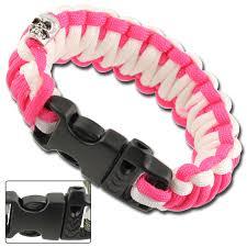 paracord survival whistle bracelet images Skullz survival whistle 17 06 ft paracord bracelet pink white jpg