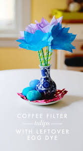 how to make coffee filter tulips using leftover egg dye aunt peaches