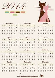 free printable 2014 calendar with cat art free download free