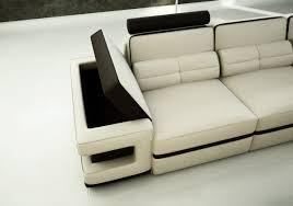 Modern White Leather Sectional Sofa by Divani Casa 6122 Modern White And Black Bonded Leather Sectional Sofa