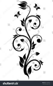 abstract design ornament element flowers butterflies stock vector