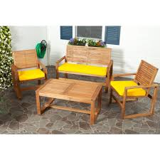 Yellow Patio Chairs Safavieh Ozark 4 Patio Seating Set With Yellow Cushions