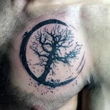 tree of small chest tattoos ideas