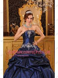 quincea eras dresses navy blue gown strapless floor length appliques taffeta