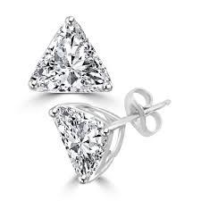 diamond earing trilliant cut diamond essence studs 2 0 ct t w set in 14k solid
