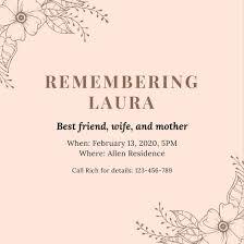 funeral invitation templates canva