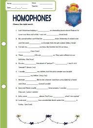 homophones worksheet worksheets