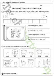 using units of measurement worksheets year 1 teaching resource