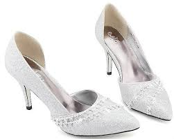 wedding shoes mid heel toe sequin sparkle fashion silver wedding shoes