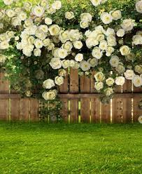 wedding backdrop garden flowers wooden fence grass lawn garden scenic background for