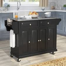 black kitchen island with stainless steel top black kitchen islands carts you ll wayfair