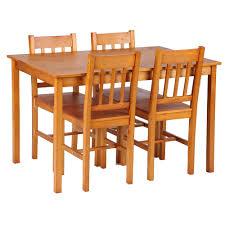 light brown ikayaa modern 5pcs kitchen dining table chairs