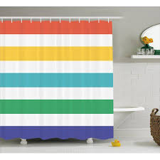 Kids Fabric Shower Curtain - striped shower curtain rainbow colored and white fun horizontal