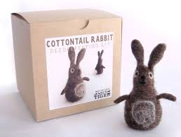 handmade cottontail rabbit needle felting kit fancy tiger boutique