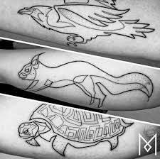 artist creates gorgeous one continuous line tattoos that will