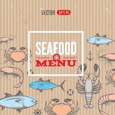 seafood vector menu template with crab shrimp lobster tuna
