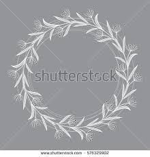 White Decorative Branches Laurel Oak Wreath Vector Decorative Element Stock Vector 583199473