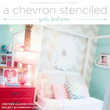 Girls Bedroom Accent Wall A Chevron Stenciled Girls Bedroom Stencil Stories